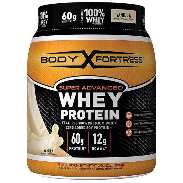 Body Fortress Super Advanced Whey Protein Powder, Vanilla, 60g Protein, 2 Lb