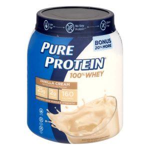 Pure Protein 100% Whey Protein Powder, Vanilla Cream, 25g Protein, 1.75 Lb